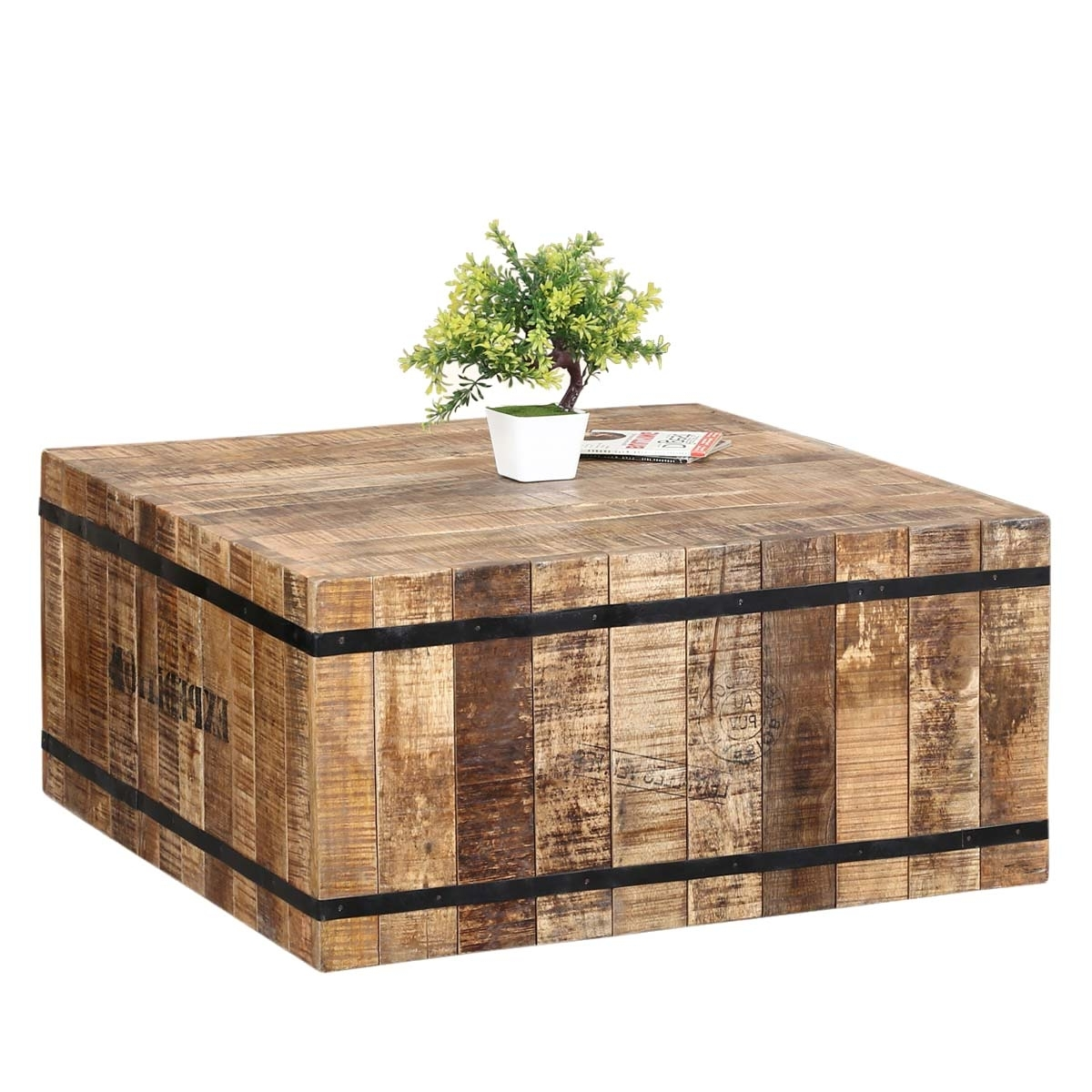 Expedition Rustic Mango Wood & Iron Square Box Style Coffee Table With Most Popular Iron Wood Coffee Tables With Wheels (View 11 of 20)