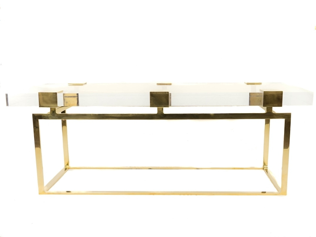Famous Acrylic & Brushed Brass Coffee Tables Intended For Collections – Custom Drapery, Fine Metal And Acrylic Hardware (View 7 of 20)