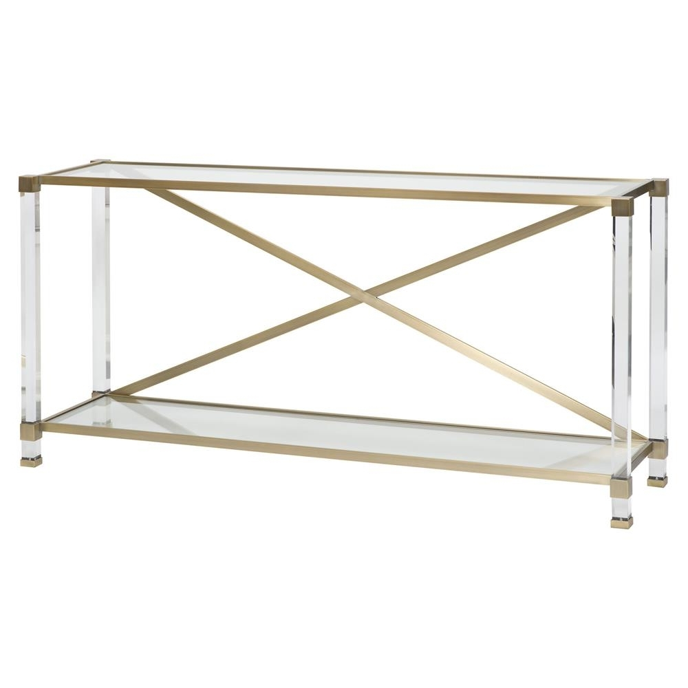 Famous Acrylic & Brushed Brass Coffee Tables With Regard To Vanguard New Modern Acrylic Satin Brass Console Table (View 6 of 20)