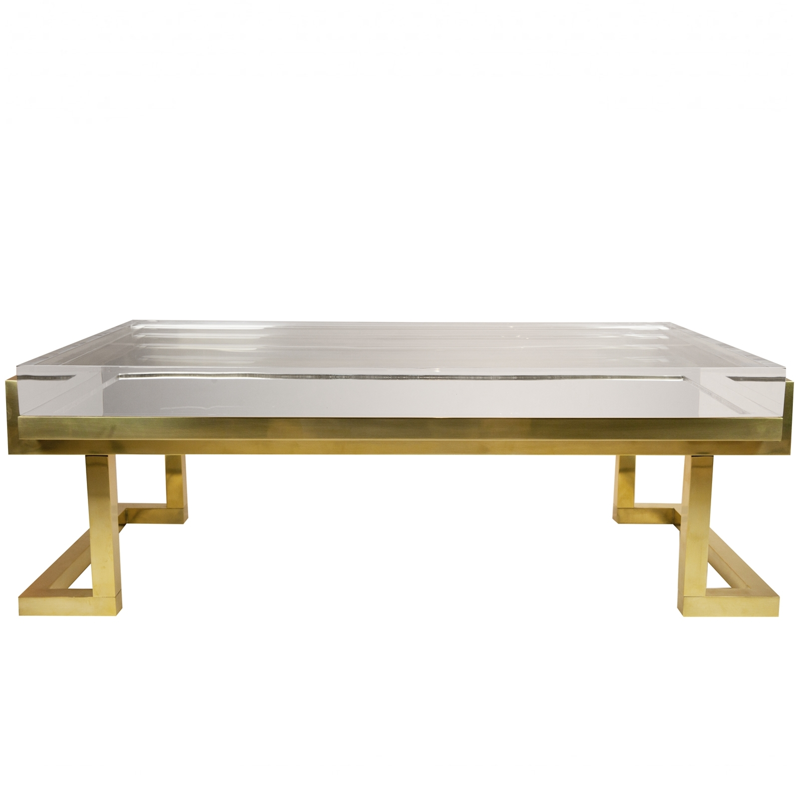 Famous Acrylic Glass And Brass Coffee Tables Within Michael Dawkins Home Acrylic Brass Coffee Table Furniture And (View 7 of 20)