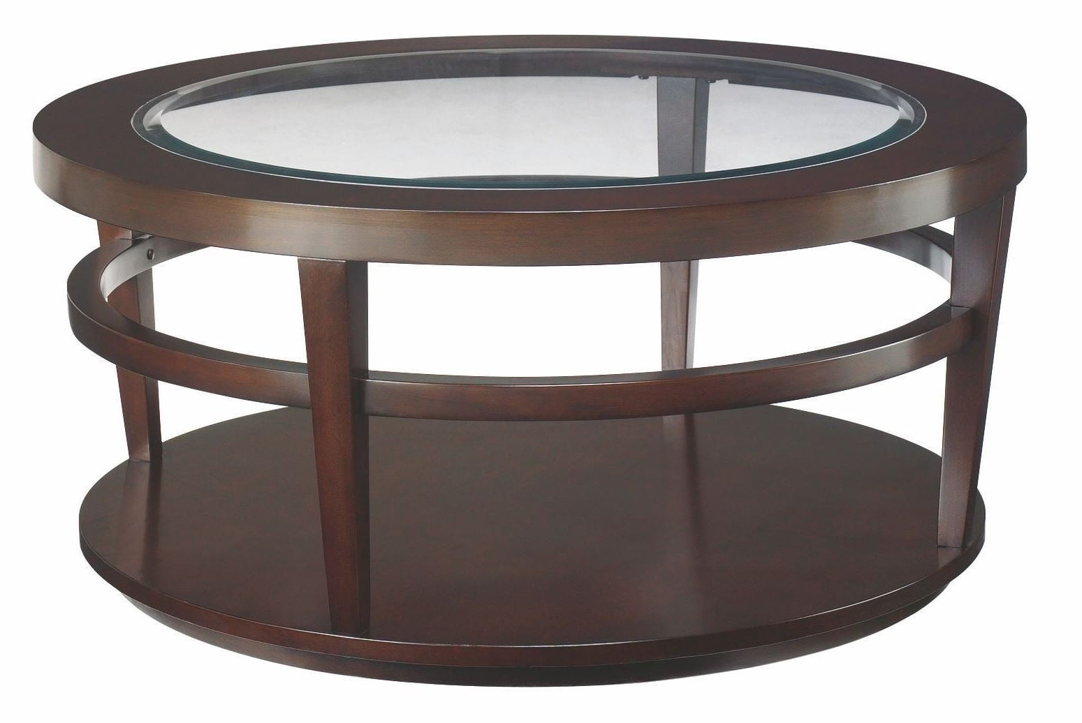 Famous Blanton Round Cocktail Tables Intended For Urbana Dark Merlot Round Cocktail Table, T20810 T2081505 00, Hammary (View 16 of 20)