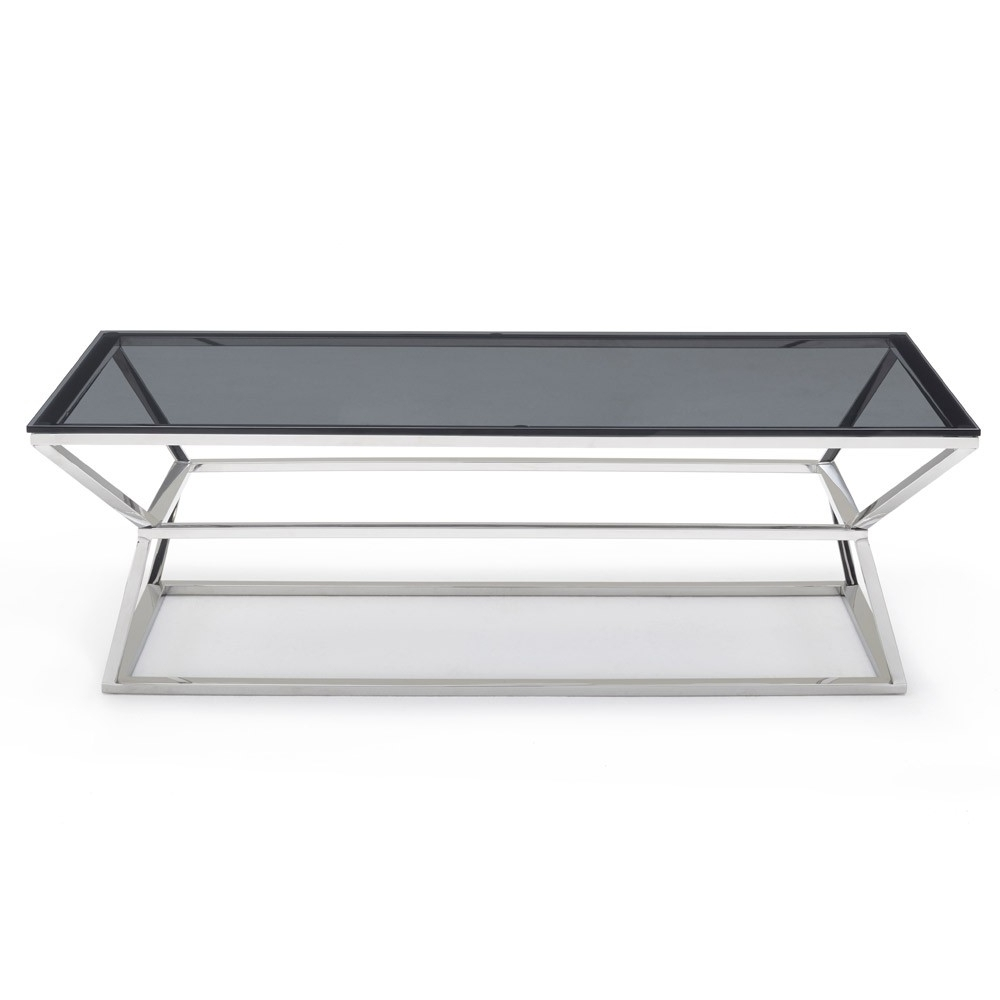 Famous Elba Cocktail Tables Within Houseology Collection Malibu Coffee Table Grey Smoke Glass Top (View 6 of 20)