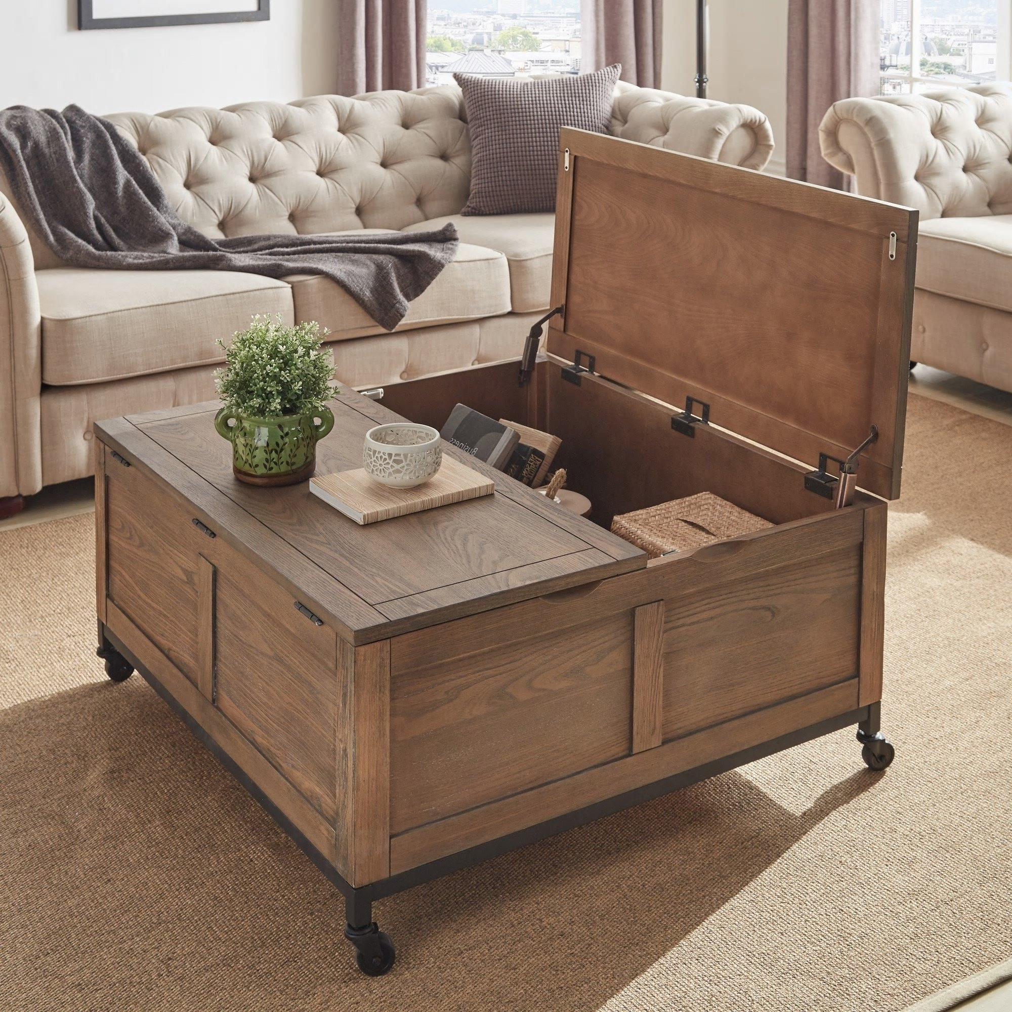Famous Grant Lift Top Cocktail Tables With Casters With Regard To Shop Shay Square Storage Trunk Cocktail Table With Caster Wheels (View 11 of 20)