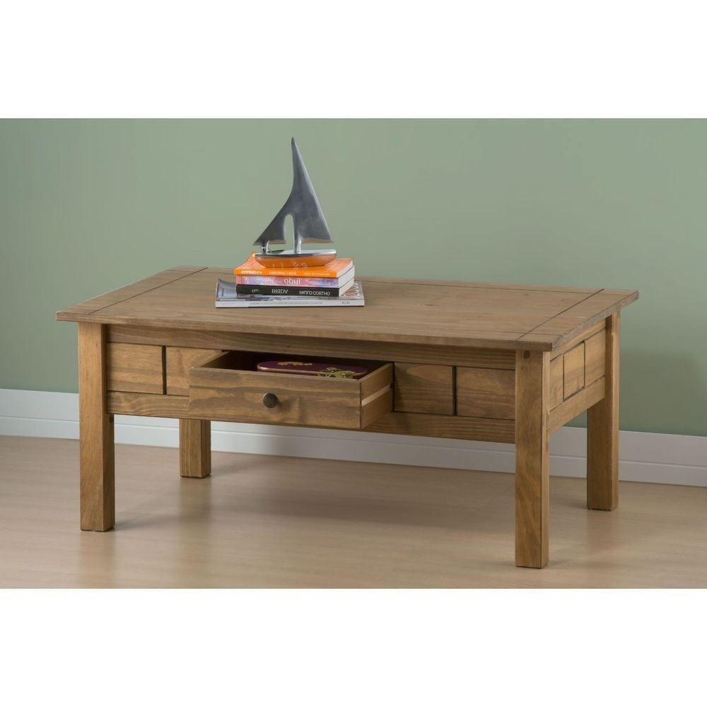 Famous Natural Pine Coffee Tables Within Wooden Coffee Table 1 Drawer Rectangle Natural Pine Frame Living (View 5 of 20)