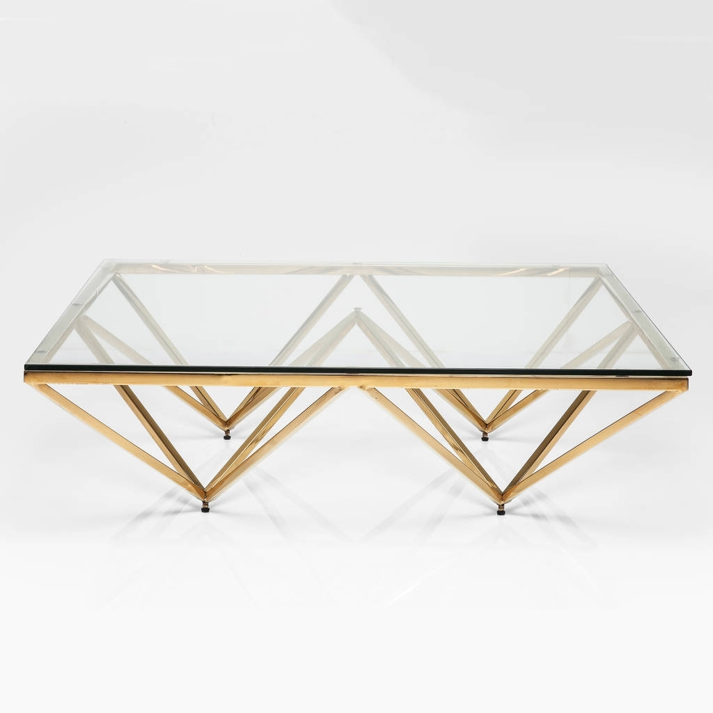 Famous Rectangular Brass Finish And Glass Coffee Tables Regarding Art Deco Brass Square Glass Coffee Tablei Love Retro (View 6 of 20)