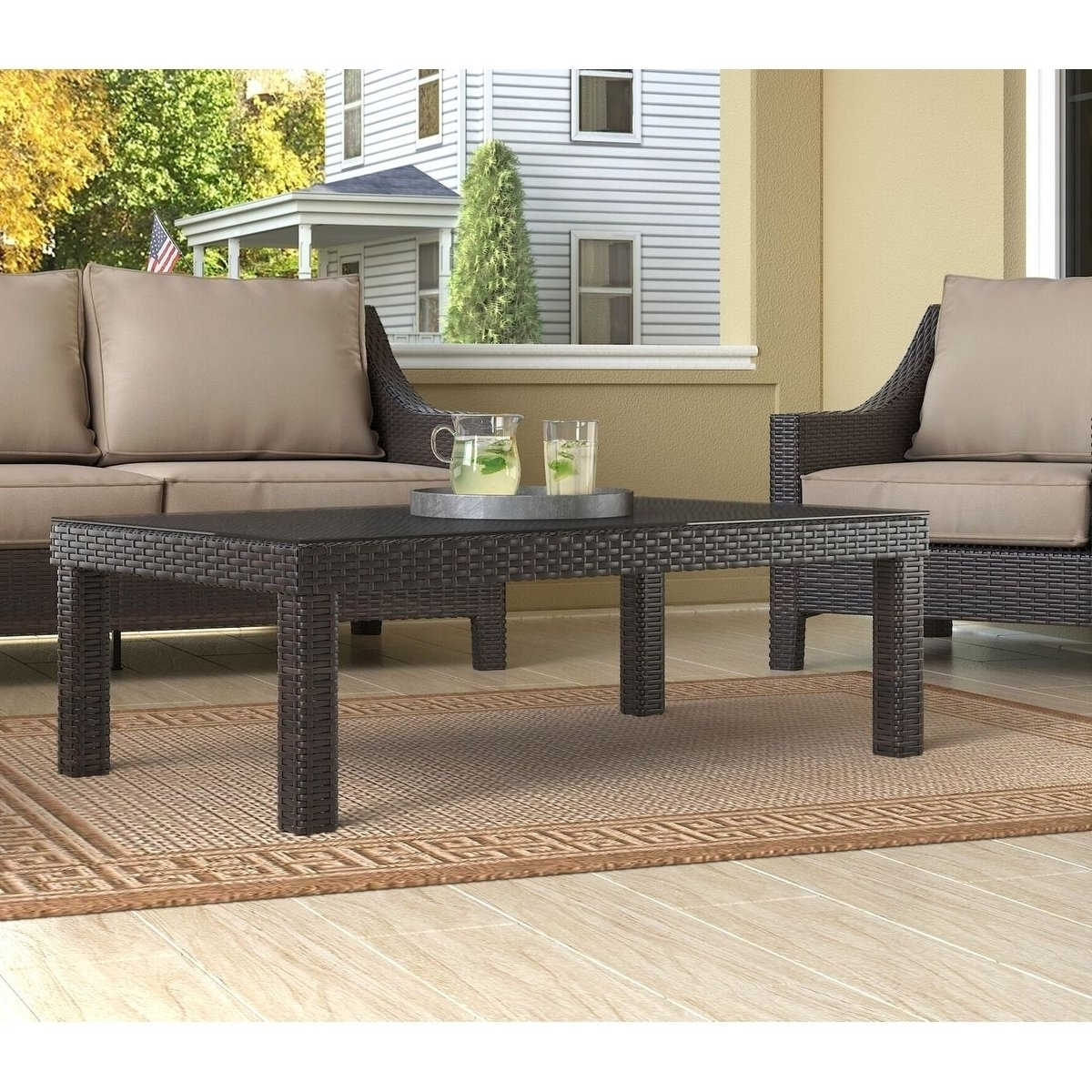 Famous Tahoe Ii Cocktail Tables In Shop Serta Tahoe Outdoor Coffee Table, Terra Brown Wicker – Free (View 7 of 20)