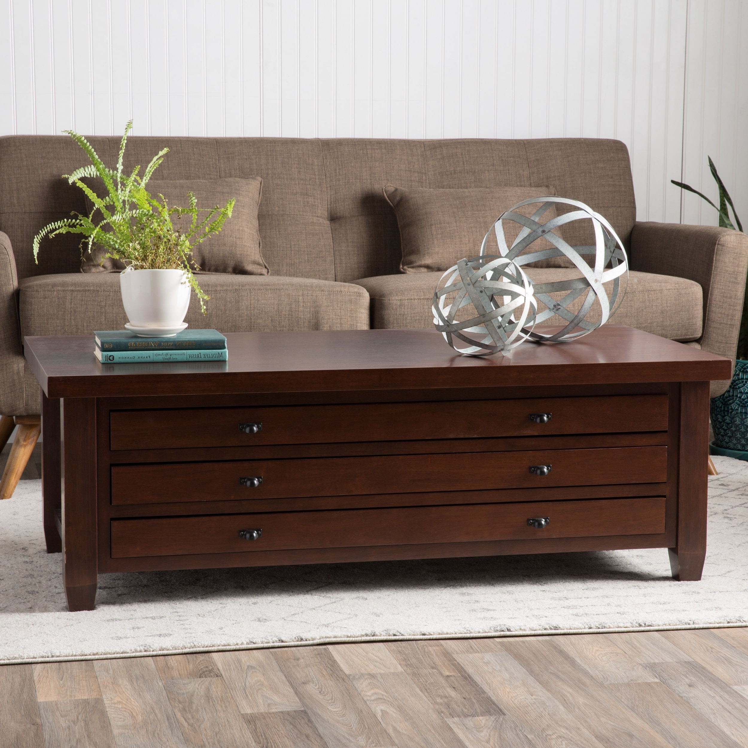 Famous Walnut Finish 6 Drawer Coffee Tables With Regard To Shop Stones & Stripes Walnut Cherry Navigator Coffee Table – Free (View 19 of 20)