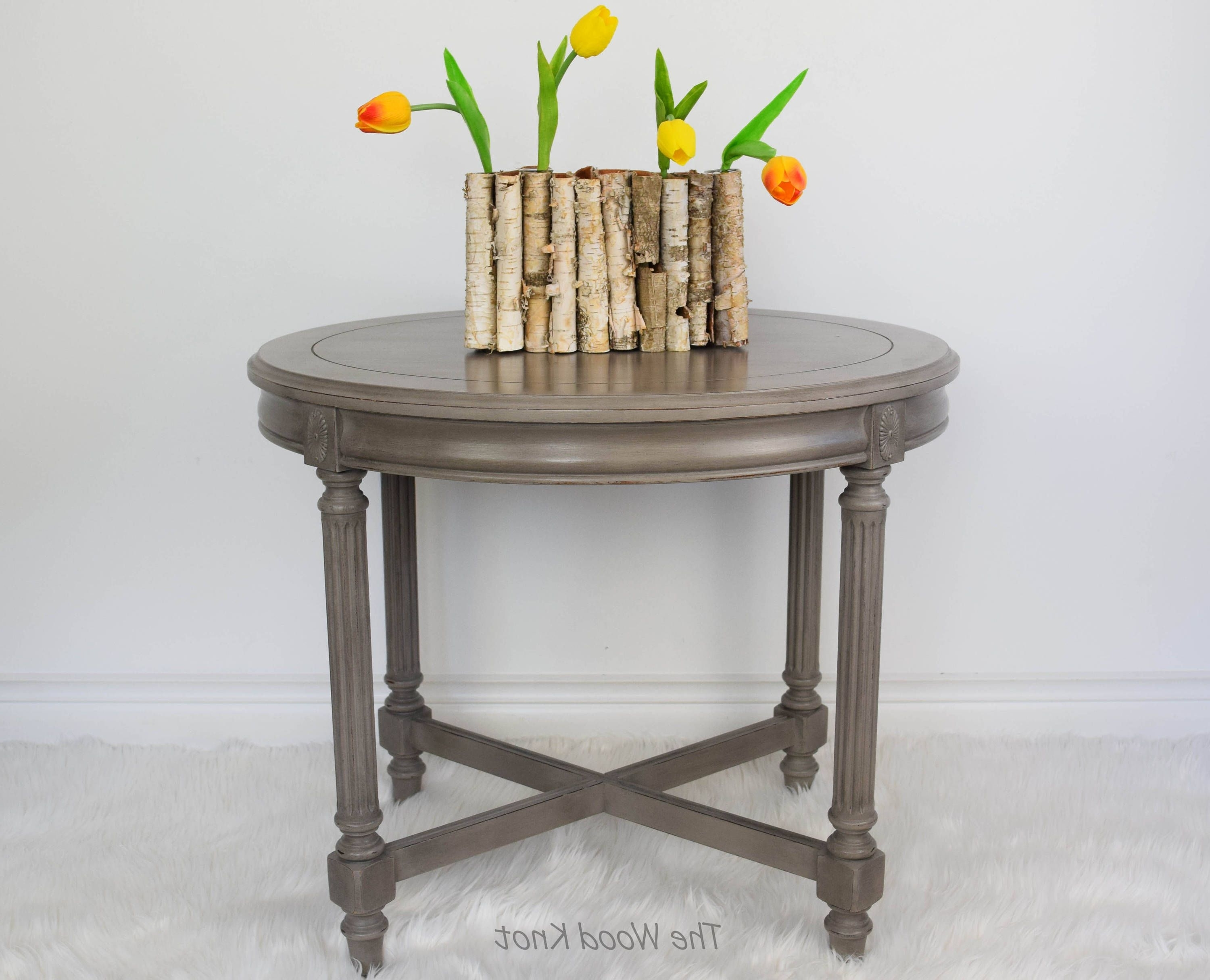 Famous Waxed Metal Coffee Tables Within French Linen Chalk Painted Oval Side Table With Black Wax (View 5 of 20)