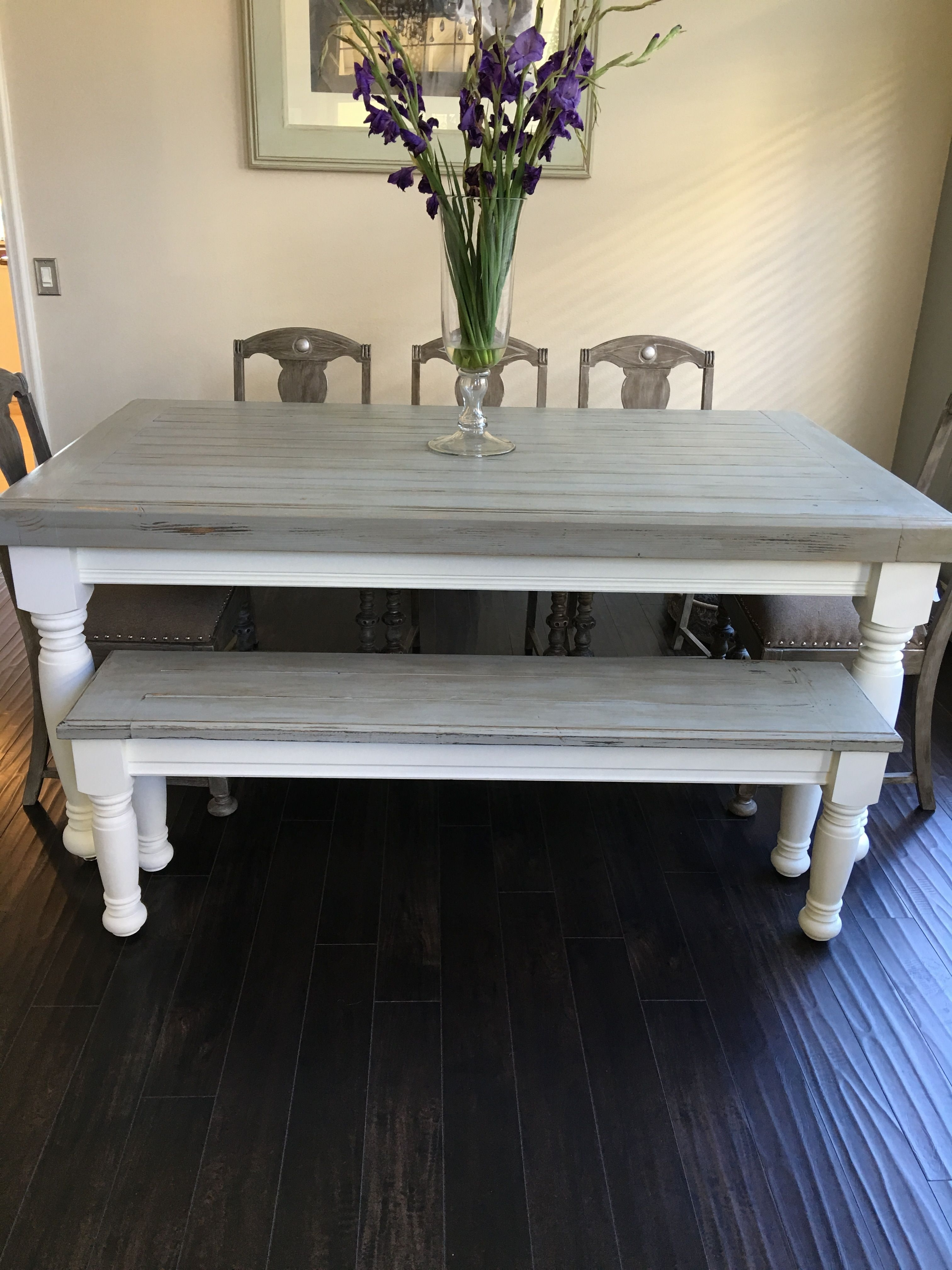 Farmhouse Table With Light Grey Base And Distressed Dark Grey Top With Famous Round White Wash Brass Painted Coffee Tables (View 4 of 20)