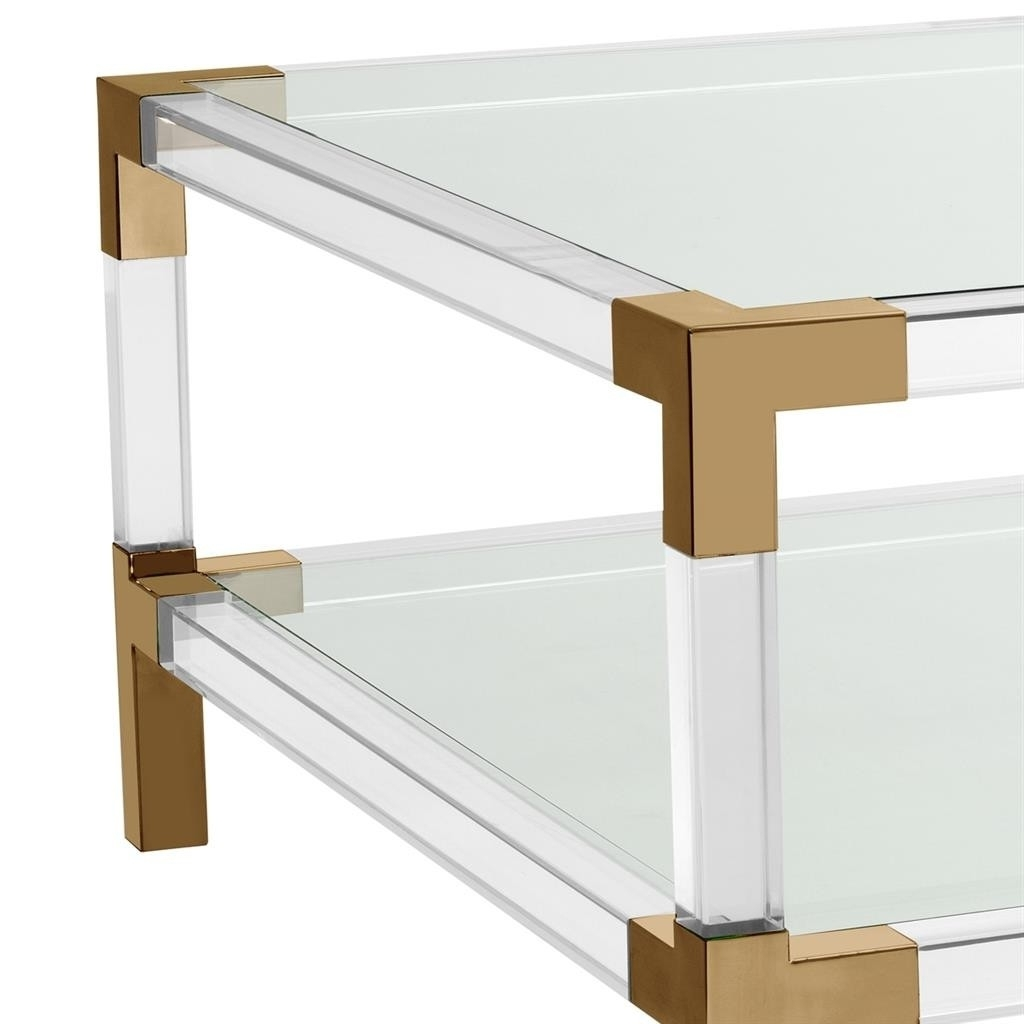 Fashionable Acrylic & Brushed Brass Coffee Tables With Regard To Royalton Acrylic & Brass Coffee Table (View 9 of 20)