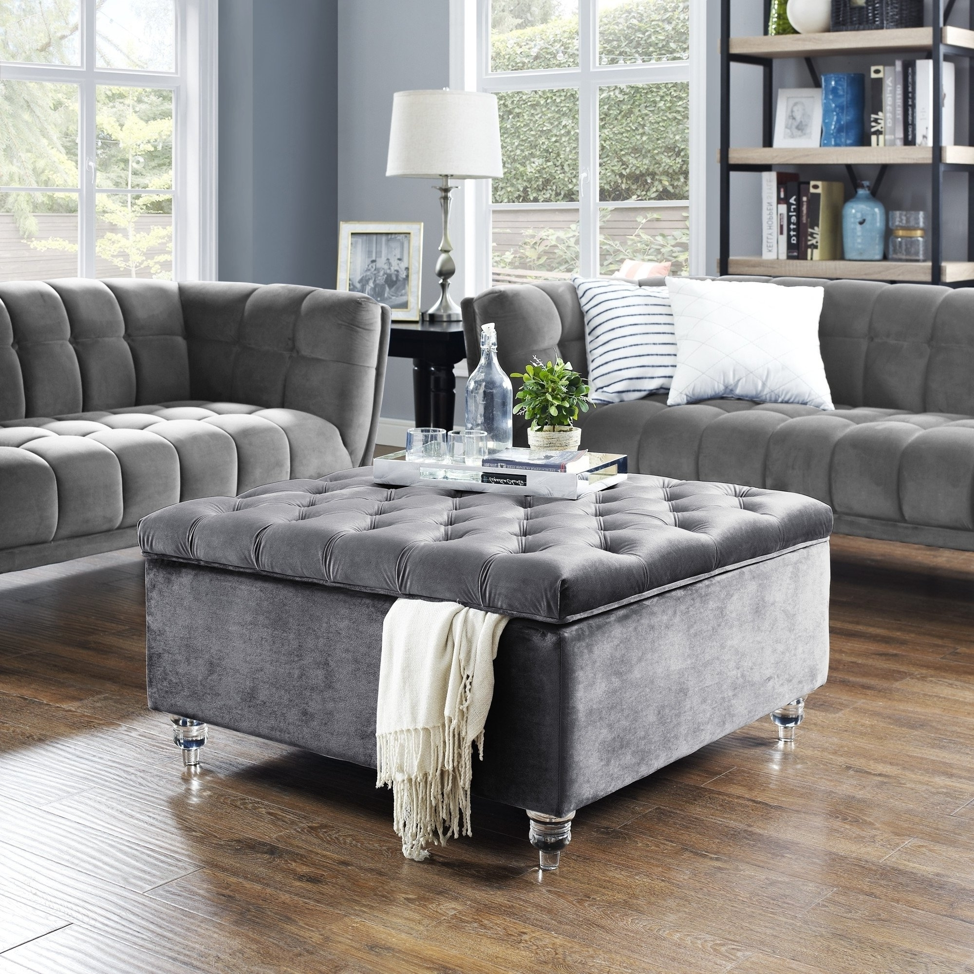 Fashionable Button Tufted Coffee Tables Within Shop Belini Modern Velvet Button Tufted Storage Ottoman/coffee Table (View 6 of 20)