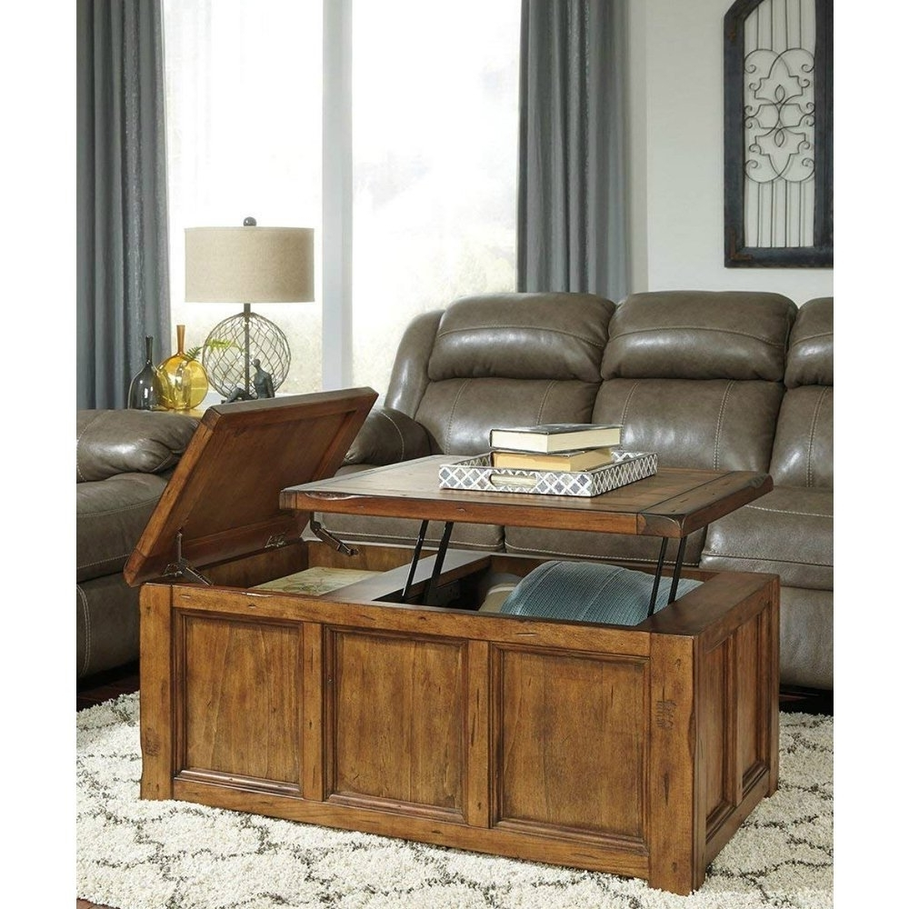 Fashionable Chiseled Edge Coffee Tables Throughout Shop Ashley T830 9 Rustic Finish Coffee Table W/ Chiseled Edges (View 7 of 20)