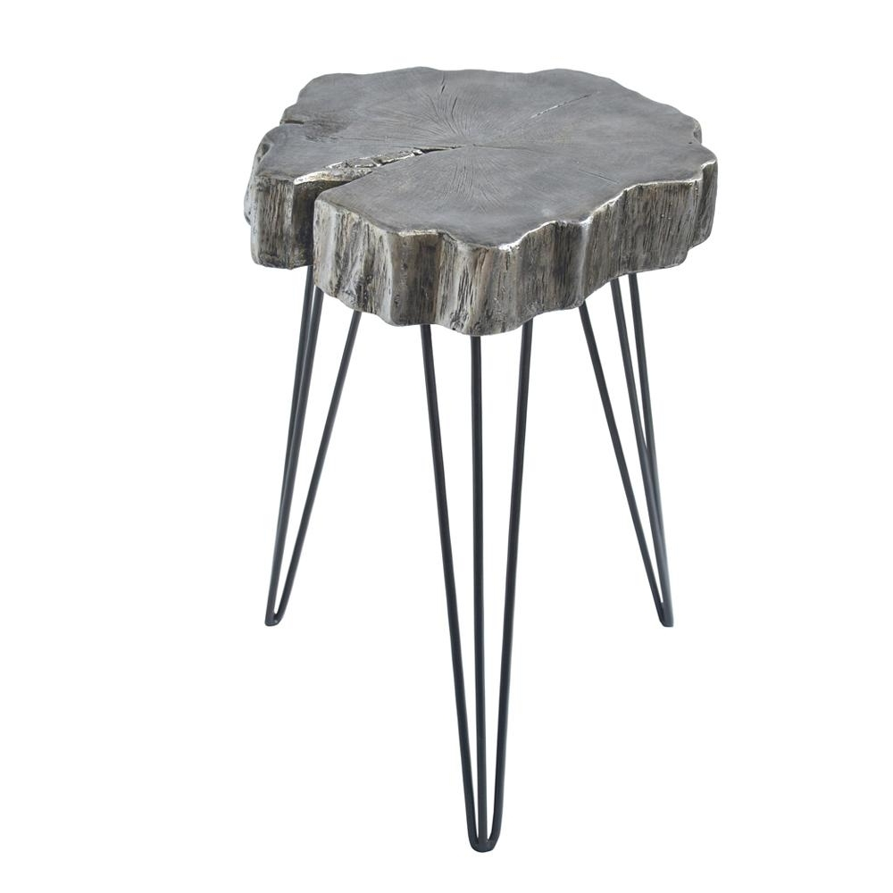 Fashionable Inverted Triangle Coffee Tables With Regard To Litton Lane Gray Crosscut Tree Accent Table 77617 – The Home Depot (View 5 of 20)
