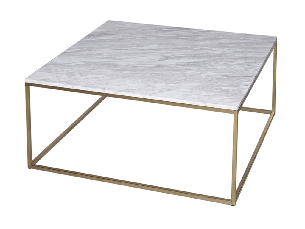 Fashionable Lassen Square Lift Top Cocktail Tables Regarding Square Coffee Table – Kensal Marble With Brass Base – Square Coffee (View 7 of 20)