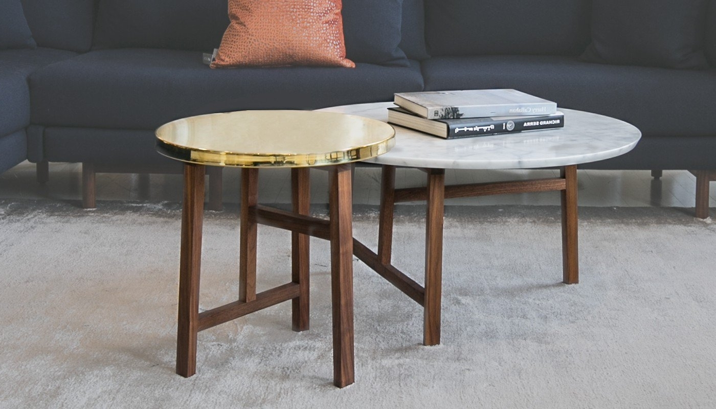 Fashionable Suspend Ii Marble And Wood Coffee Tables Regarding De La Espada Trio Round Walnut And Marble Top Coffee Table (View 6 of 20)