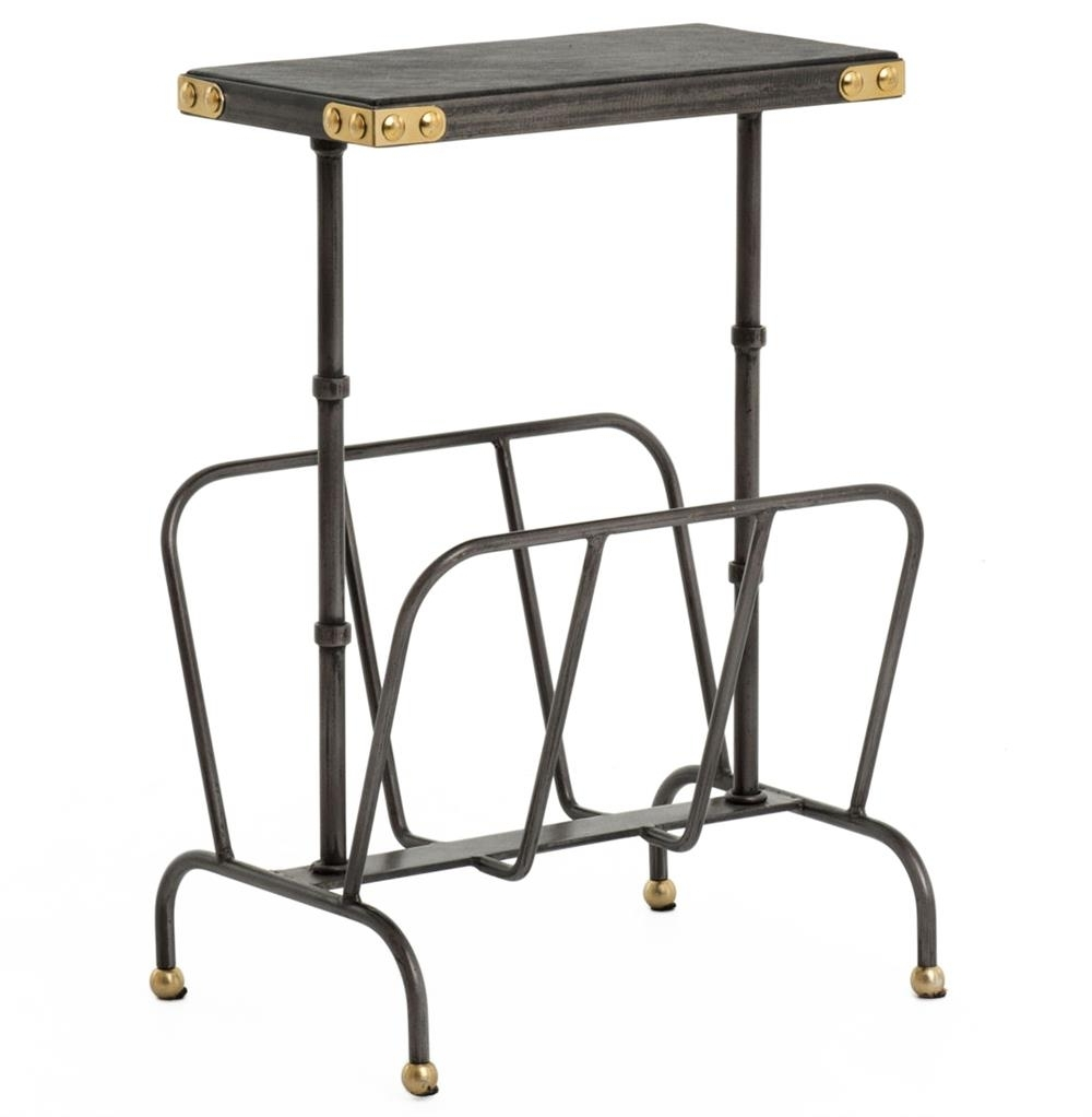 Fashionable Waxed Metal Coffee Tables In Hobart Iron Waxed Black Industrial Loft Magazine Rack Side Table (View 6 of 20)