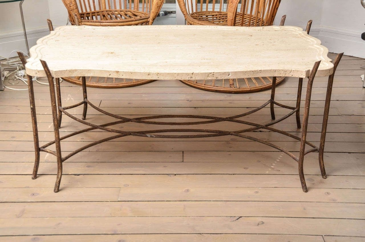 Faux Bois Iron Base Limestone Top Coffee Table With Scalloped Edge With Well Known Faux Bois Coffee Tables (View 15 of 20)