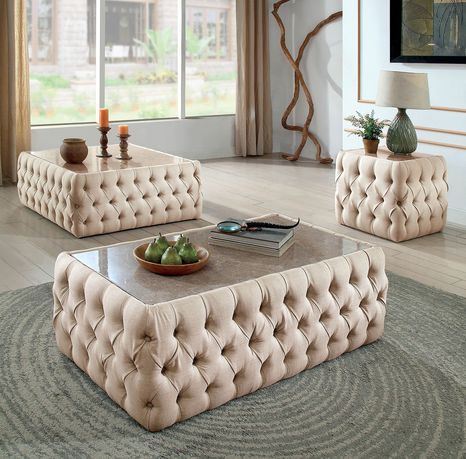 Favorite Button Tufted Coffee Tables Within Deja Beige Linen Button Tufted Rectangular Coffee Table With Faux (View 8 of 20)