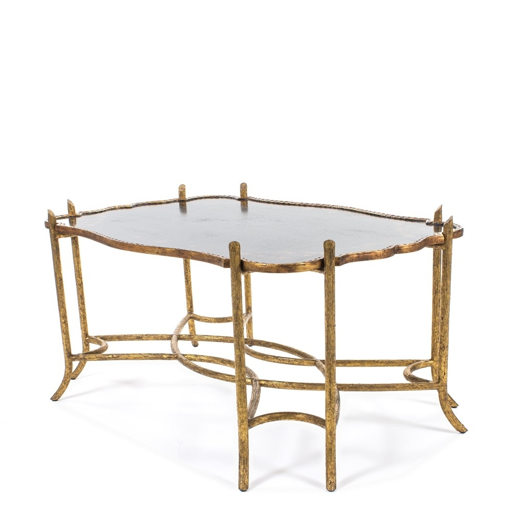 Favorite Faux Bois Coffee Tables With Regard To Dennis & Leen Chinoiserie Coffee Table W/antiqued Gold Faux Bois (View 16 of 20)