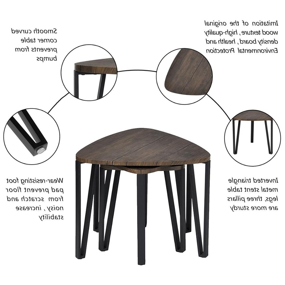 Favorite Inverted Triangle Coffee Tables Pertaining To Aingoo Coffee Table Set Of 3 End Side Table Stacking Tea Table Brown (View 7 of 20)
