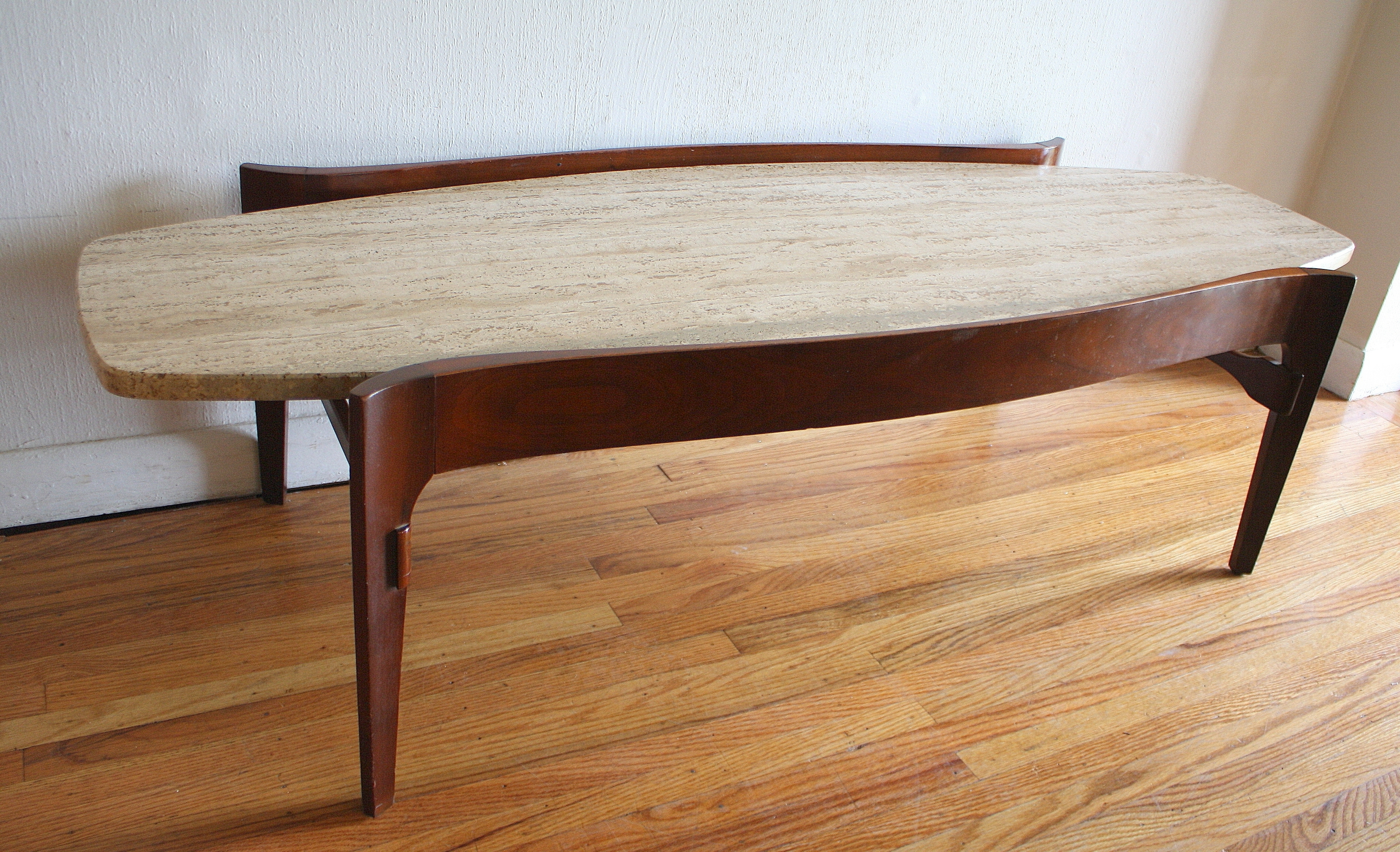 Favorite Mid Century Modern Marble Coffee Tables Regarding Furniture: Mid Century Modern Surfboard Coffee Table With Floating (View 5 of 20)
