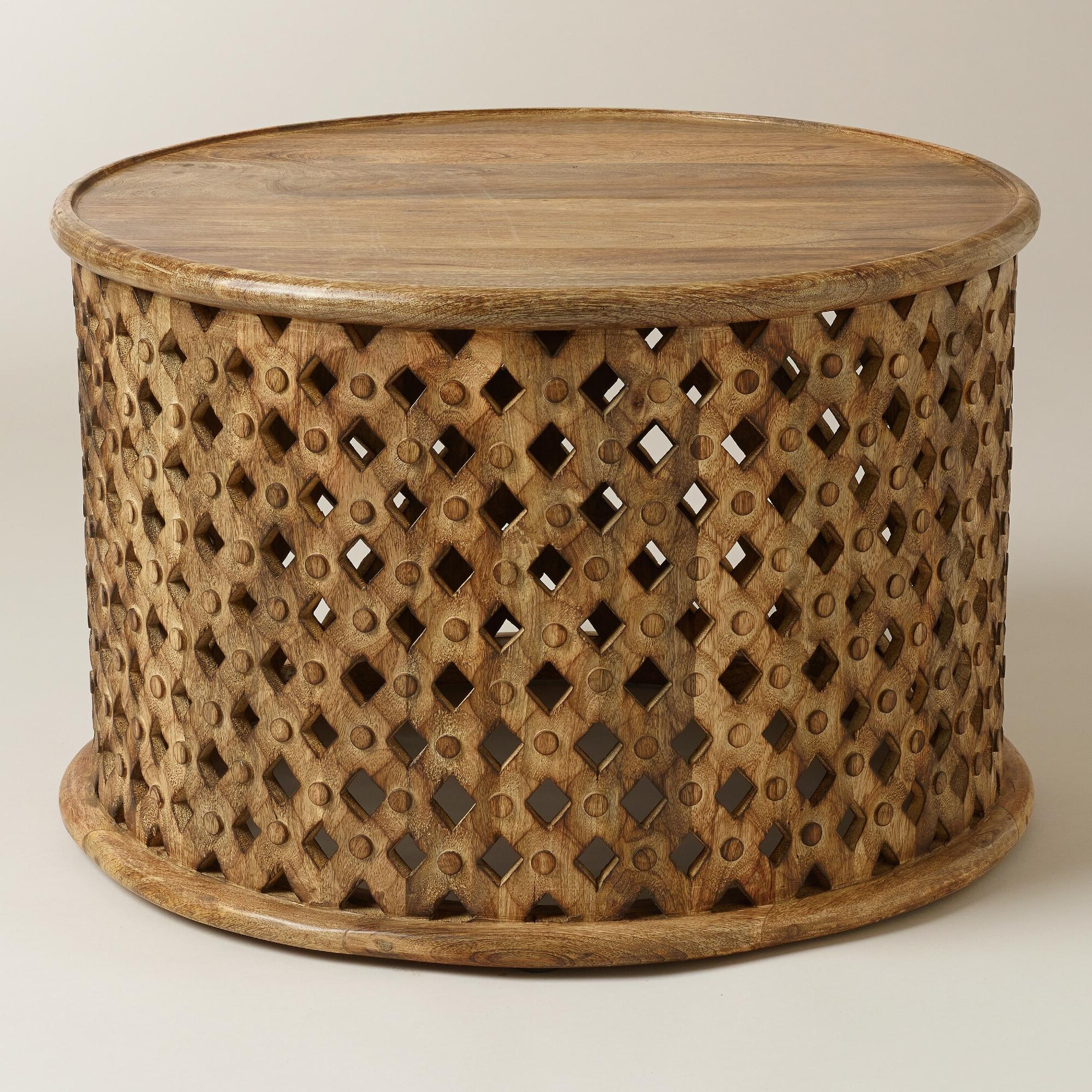 Favorite Round Carved Wood Coffee Tables Within Elegant Carved Wood Coffee Table With Mango Wood Coffee Tables (View 6 of 20)