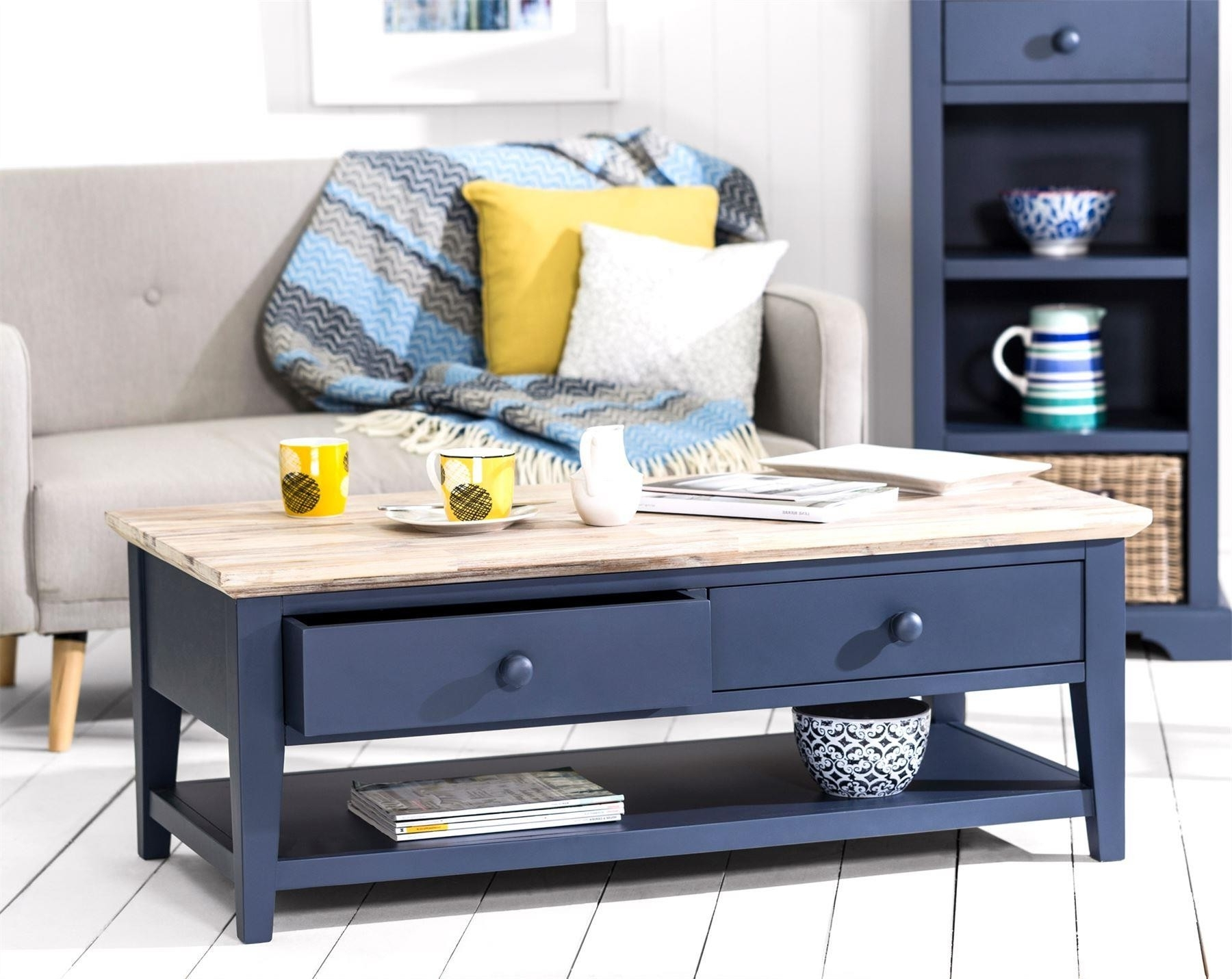 Florence Navy Blue Coffee Table With 2 Drawers And Shelf Within Widely Used White Wash 2 Drawer/1 Door Coffee Tables (View 11 of 20)