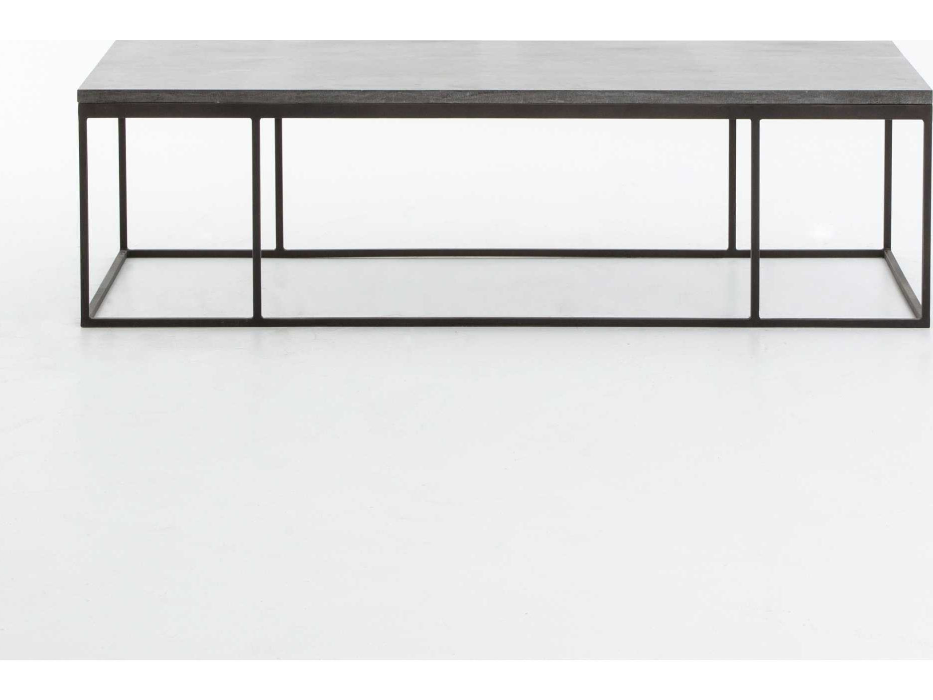 Four Hands Hughes Bluestone 60 X 28 Rectangular Harlow Small Coffee Regarding Fashionable Bluestone Rustic Black Coffee Tables (View 9 of 20)