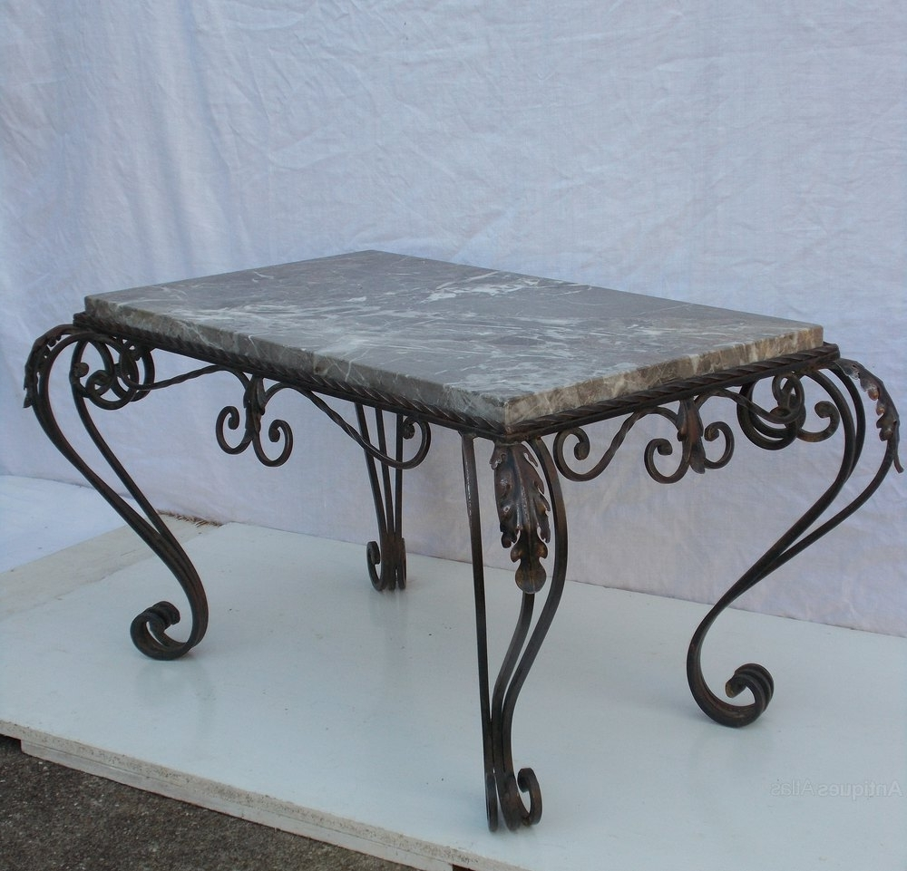 French Wrought Iron & Marble Coffee Table – Antiques Atlas Pertaining To Most Current Iron Marble Coffee Tables (View 8 of 20)