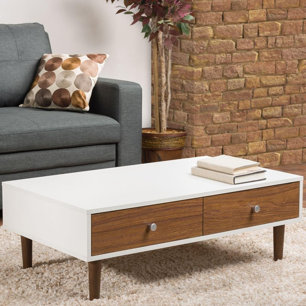 Furinno Jaya Walnut And Black Built In Storage Coffee Table Inside Most Popular Walnut Finish 6 Drawer Coffee Tables (View 10 of 20)
