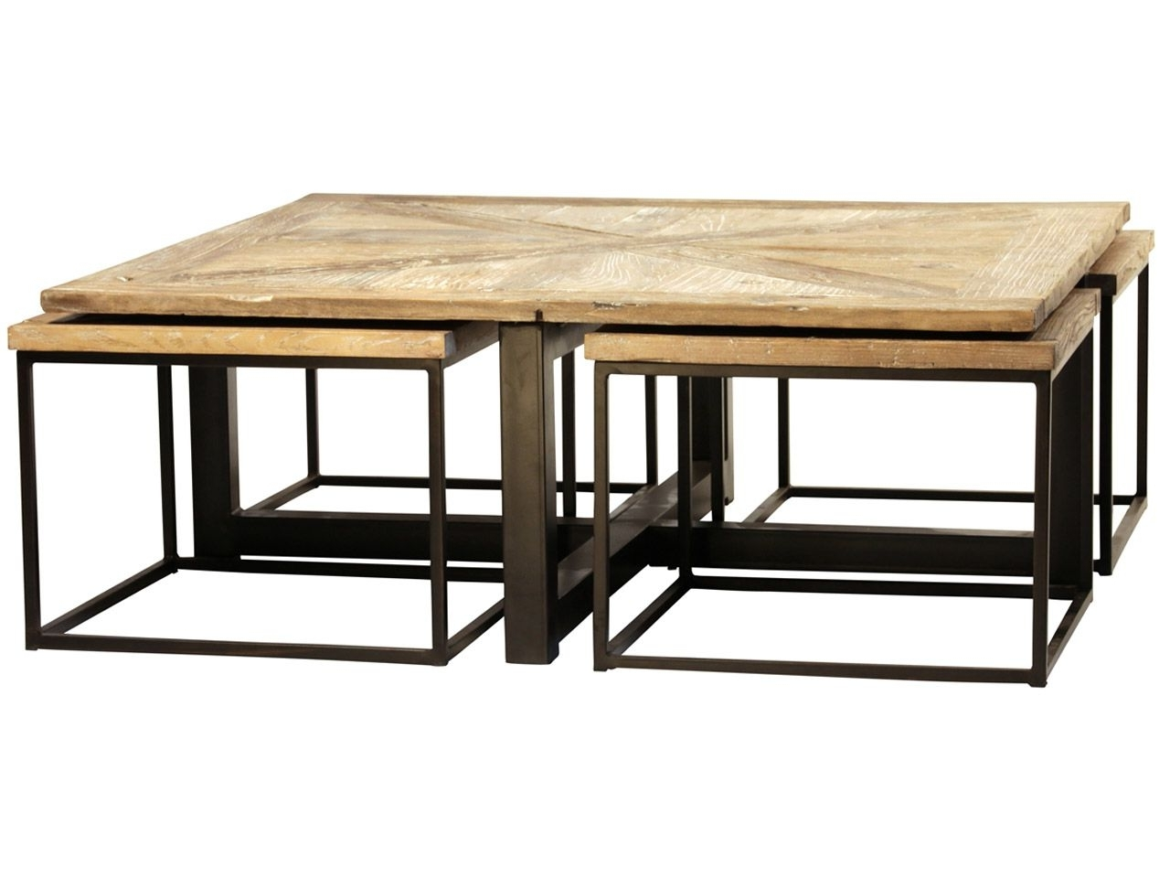 Furniture Drayton Nesting Coffee Table With Black Iron Cast For Well Known Reclaimed Elm Cast Iron Coffee Tables (View 9 of 20)