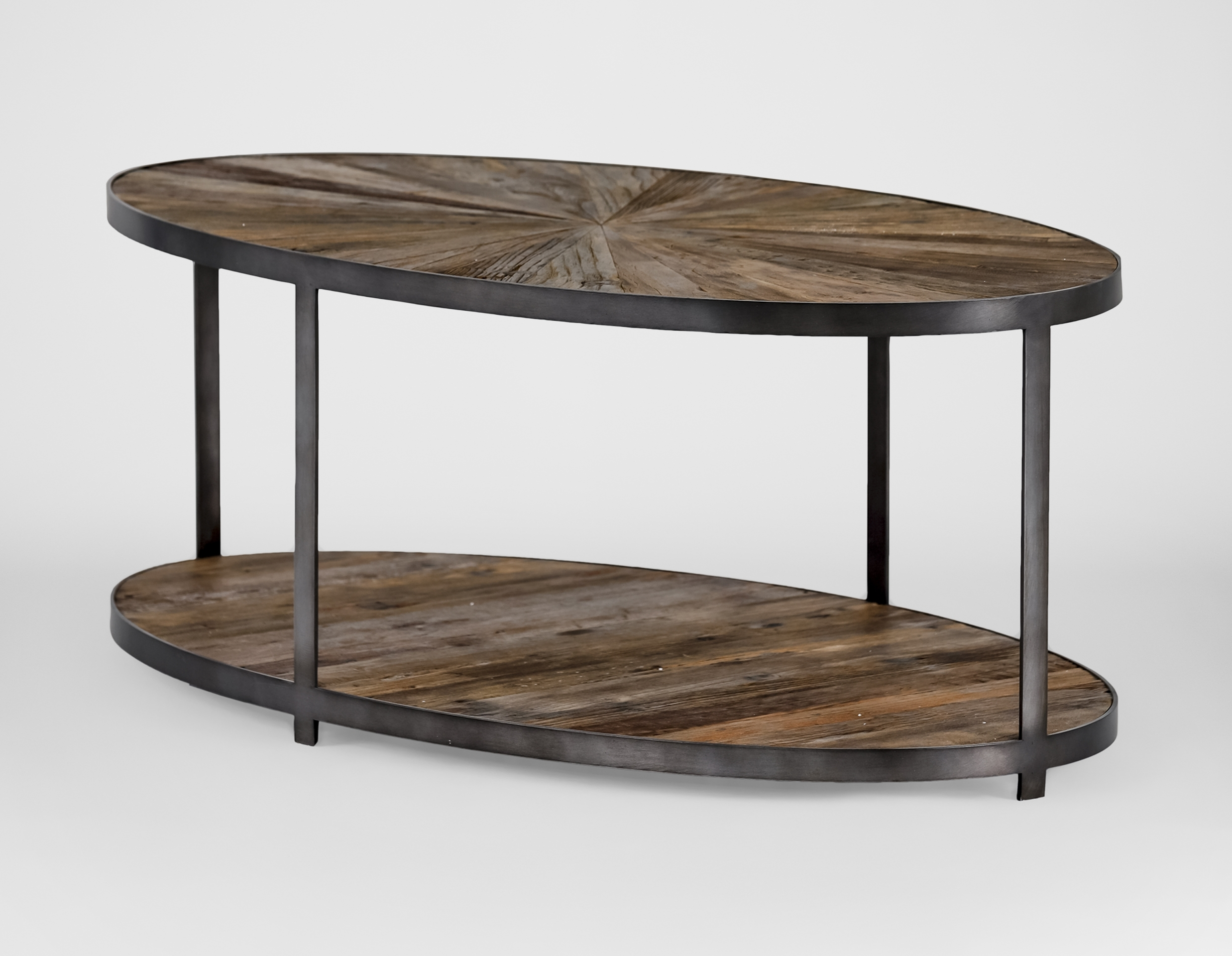 Gabby Ronald Reclaimed Wood Sunburst Oval Coffee Table Intended For Most Current Reclaimed Elm Iron Coffee Tables (View 8 of 20)