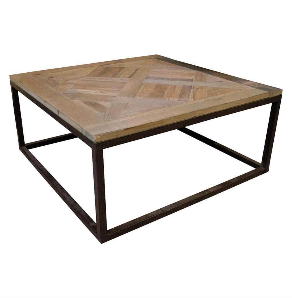 Gramercy Modern Rustic Reclaimed Parquet Wood Iron Coffee Table Intended For Trendy Iron Wood Coffee Tables With Wheels (View 7 of 20)