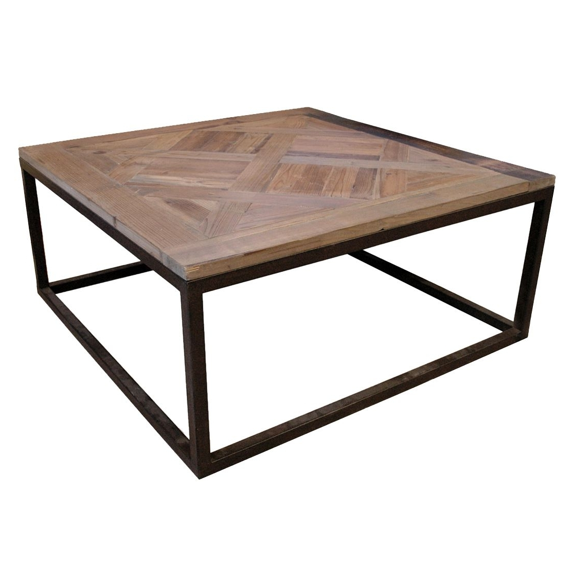 Gramercy Modern Rustic Reclaimed Parquet Wood Iron Coffee Table Regarding Most Current Reclaimed Elm Iron Coffee Tables (View 19 of 20)