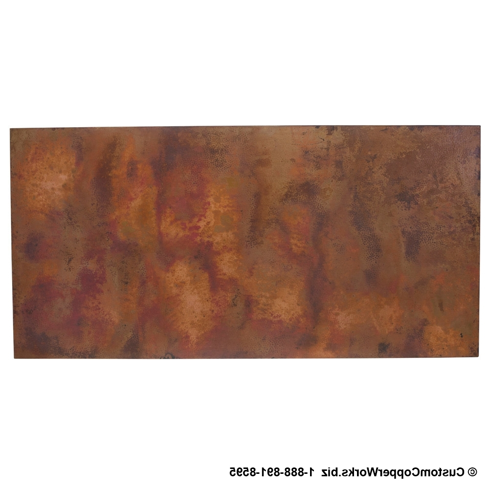 Hammered Copper Top Dining Table / Copper Console Table / Copper Pertaining To Famous Spanish Coffee Tables (View 14 of 20)