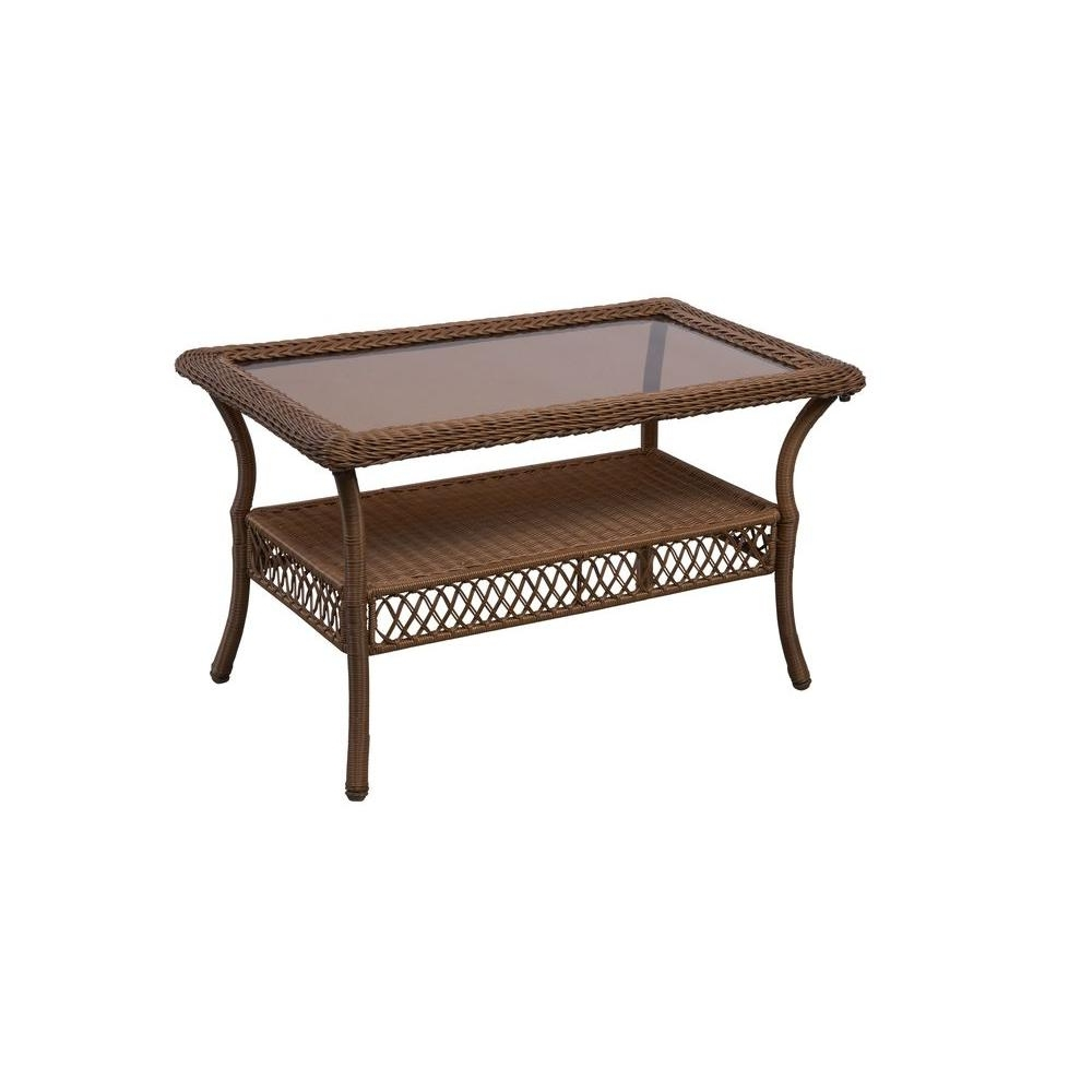 Hampton Bay Spring Haven Brown All Weather Wicker Outdoor Patio For Current Haven Coffee Tables (Gallery 4 of 20)