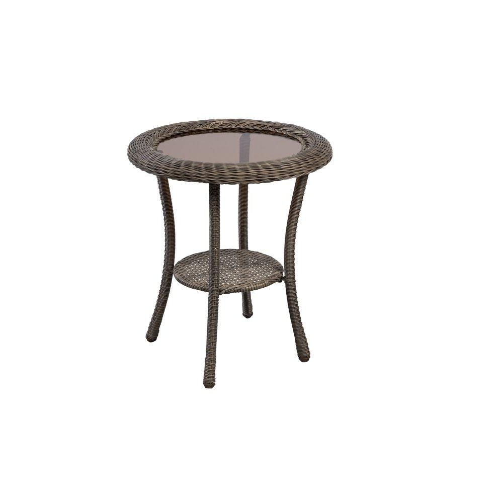 Hampton Bay Spring Haven Grey Round Wicker Outdoor Patio Side Table With Newest Haven Coffee Tables (View 12 of 20)