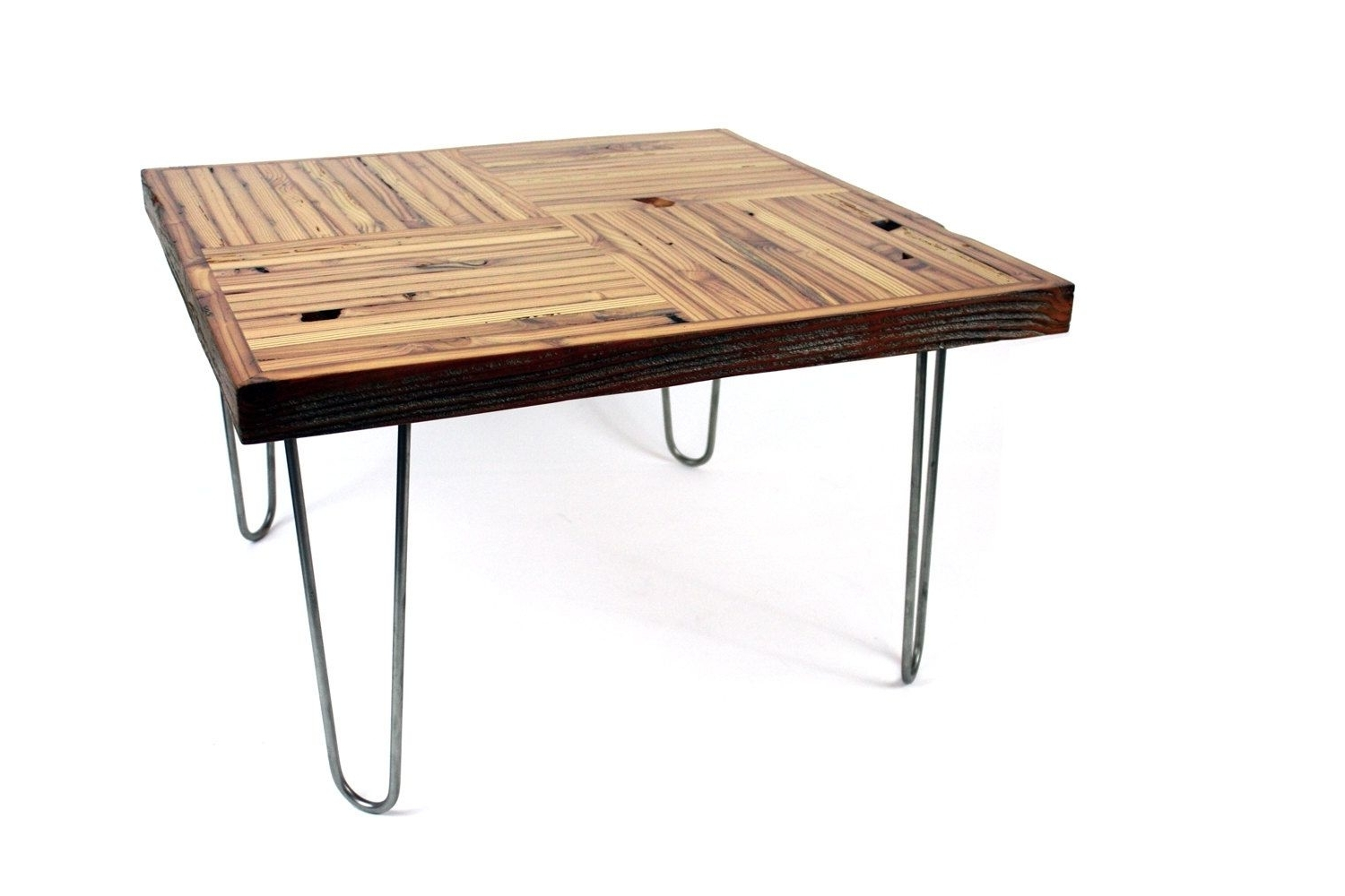 Hand Crafted 'block Parquet' Coffee Table // Reclaimed Wood Table For Widely Used Parquet Coffee Tables (View 11 of 20)