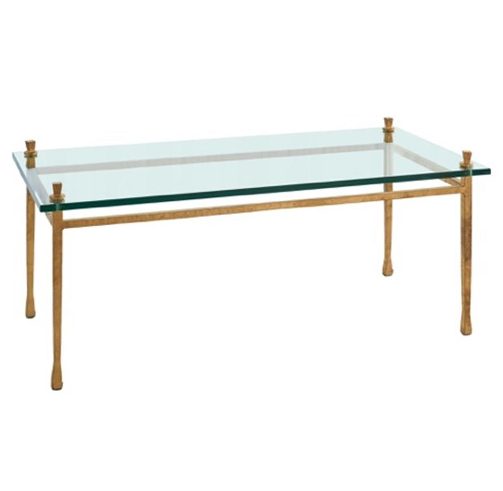 Handler Global Bazaar Floating Glass Gold Leaf Coffee Table For 2018 Gold Leaf Collection Coffee Tables (View 6 of 20)