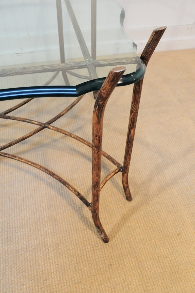 Hollywood Regency Iron Faux Bois And Glass French Bagues Style With Regard To Well Known Faux Bois Coffee Tables (View 18 of 20)