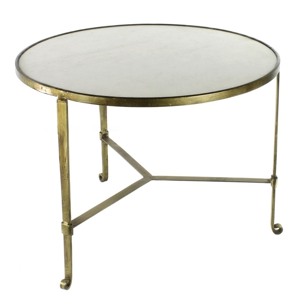 Homart Savoy Iron & Stone Coffee Table – Antique Brass With White For Well Liked Antique Brass Coffee Tables (View 6 of 20)
