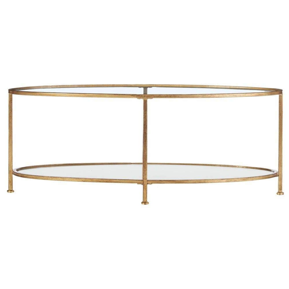 Home Decorators Collection Bella Aged Gold Oval Glass Coffee Table Inside Well Known Rectangular Brass Finish And Glass Coffee Tables (View 7 of 20)