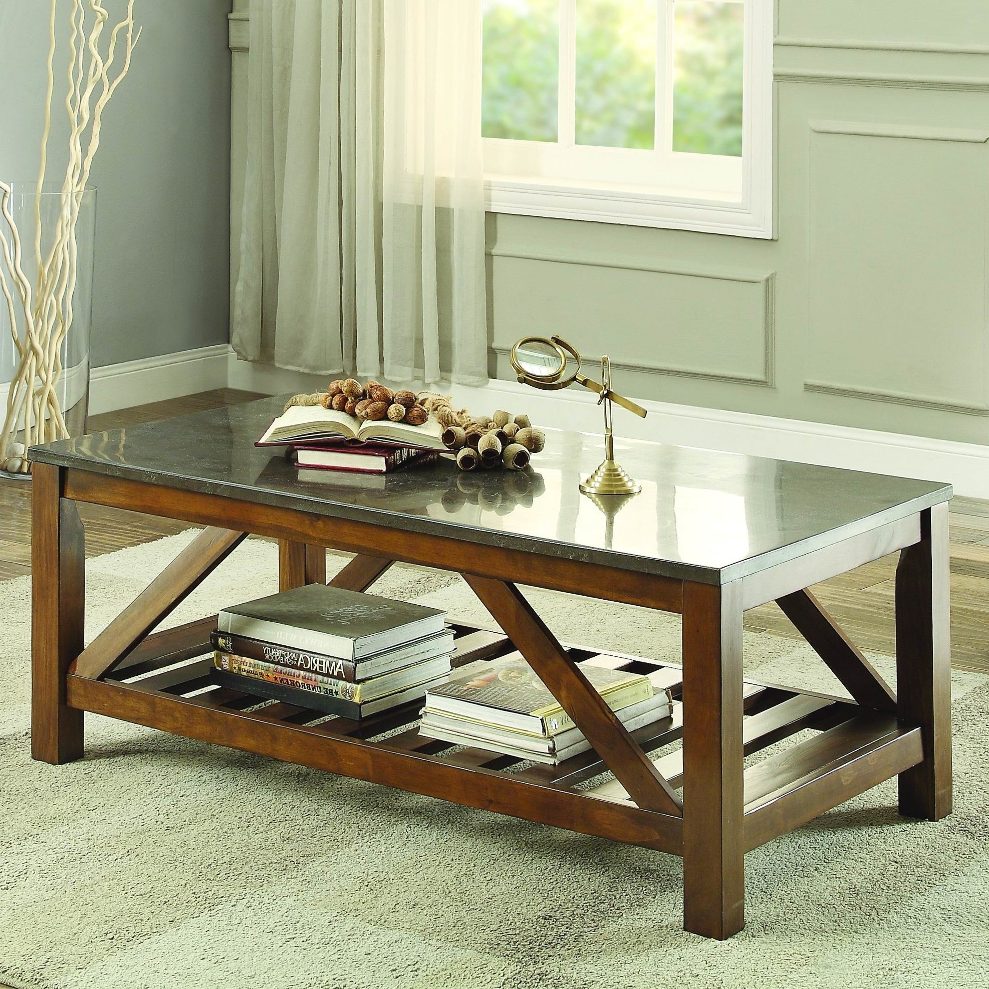 Homelegance Ashby Coffee Table, Bluestone Marble & Reviews (View 11 of 20)