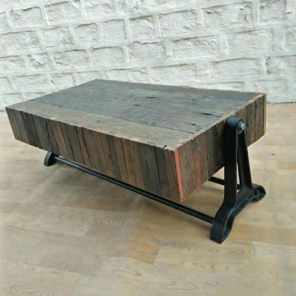 Industrial Vintage Rail Wood Coffee Table,vintage Sleeper Wood With Famous Vintage Wood Coffee Tables (View 5 of 20)