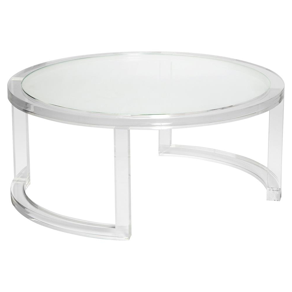 Interlude Ava Modern Round Clear Glass Acrylic Coffee Table Inside Recent Modern Acrylic Coffee Tables (Gallery 3 of 20)
