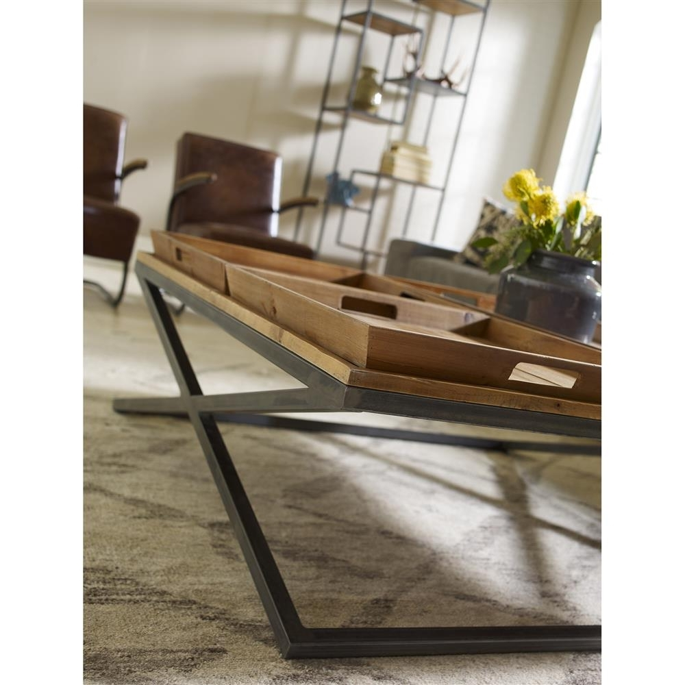 Jaxon Trio Tray Top Wood Iron Industrial Square Coffee Table In Most Recent Jaxon Cocktail Tables (Gallery 6 of 20)