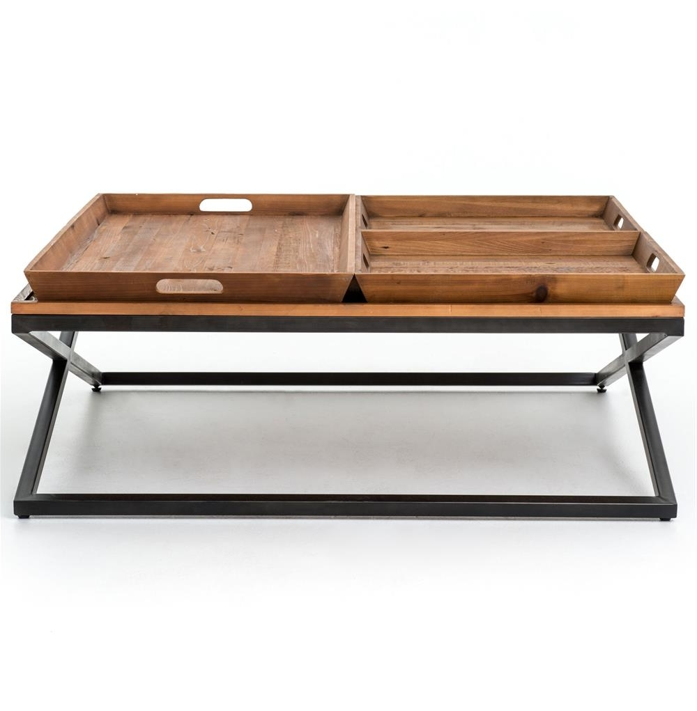 Jaxon Trio Tray Top Wood Iron Industrial Square Coffee Table Intended For Fashionable Jaxon Cocktail Tables (Gallery 13 of 20)