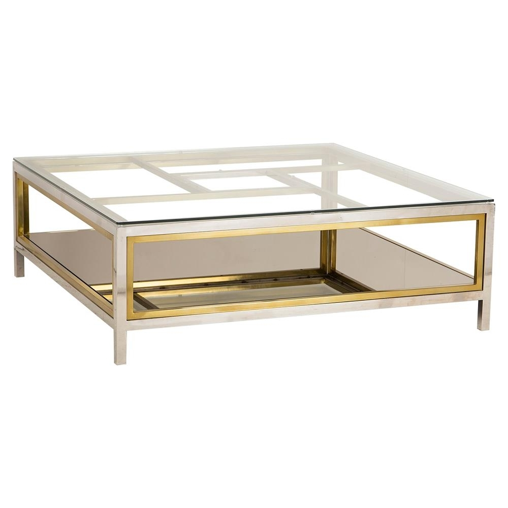 Kathy Kuo Home Pertaining To Most Popular Rectangular Brass Finish And Glass Coffee Tables (View 9 of 20)