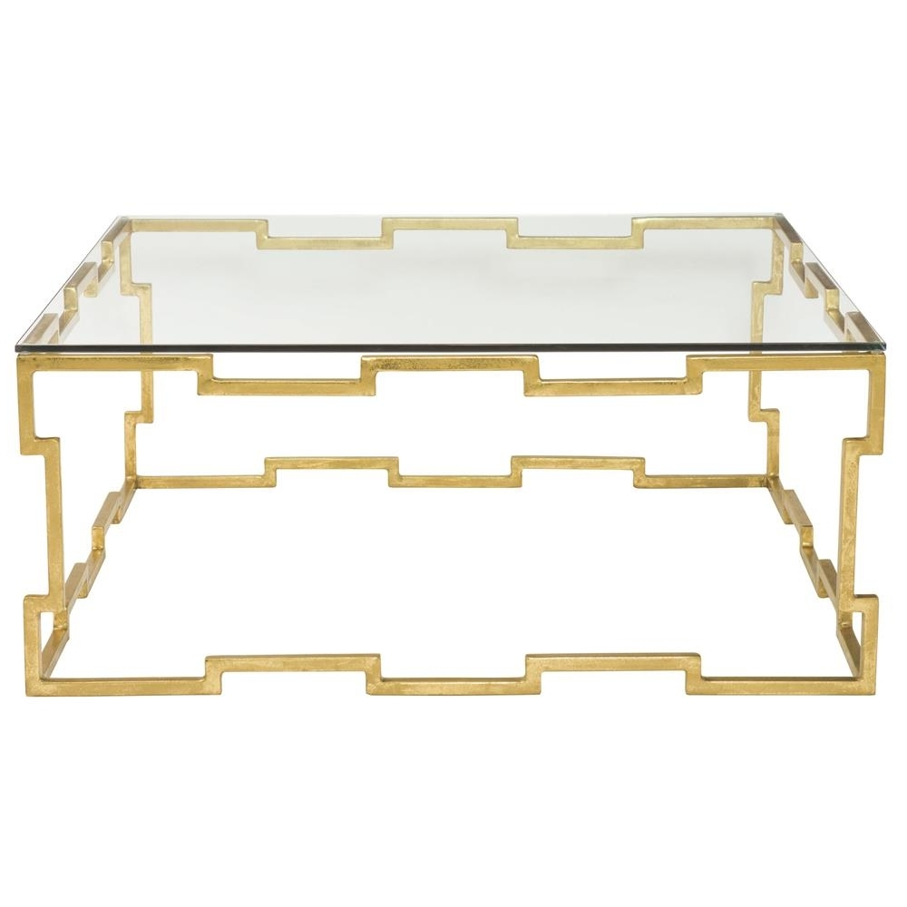 Kya Hollywood Regency Gold Leaf Glass Coffee Table (View 9 of 20)