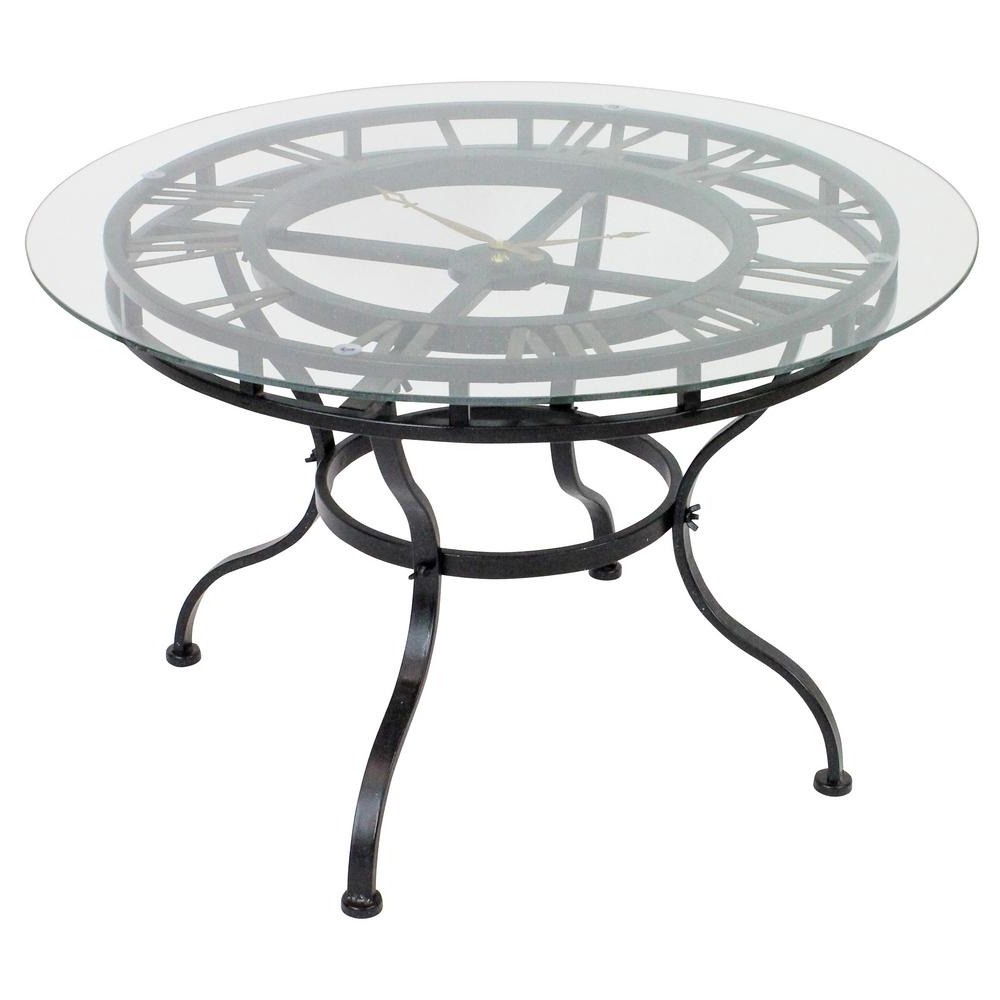 Kyndal Gray Cocktail Table With Clock 4844 – The Home Depot Inside Famous Weaver Dark Rectangle Cocktail Tables (View 6 of 20)